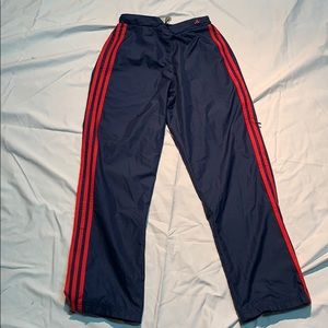 Adidas navy blue and red track pants - size small